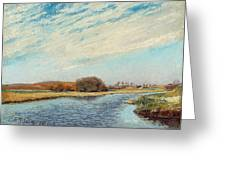The Susaa River At Naestved, Denmark Greeting Card
