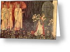 The Vision Of The Holy Grail To Sir Galahad Sir Bors And Sir Perceval Greeting Card