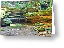 The Waterfall In Old Man's Cave Hocking Hills Ohio Greeting Card