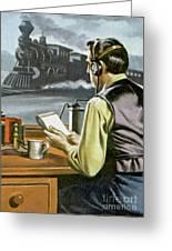 Thomas Edison, The Railway Telegraphist  Greeting Card