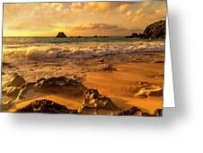 Thoughtful Morning Golden Coastal Paradise  Greeting Card