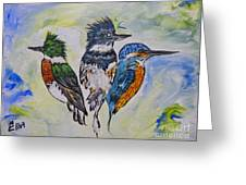Three Kingfisher Birds - Painting By Ella Greeting Card