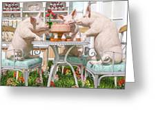 Three Little Pigs And The Birthday Cake Greeting Card