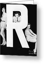 Three Women Posing With Huge Letter R Greeting Card