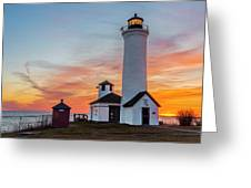 Tibbetts Point Light At Sunset Greeting Card