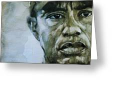 Tiger Woods - On The Road Again  Greeting Card