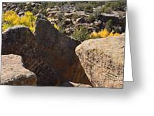 Top Of Rocks Above Canyon In Fall Greeting Card