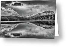 Topaz Lake Winter Reflection, Black And White Greeting Card