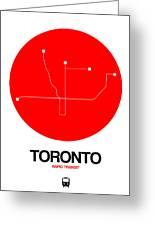 Toronto Red Subway Map Greeting Card