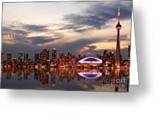 Toronto Skyline At Sunset, Ontario Greeting Card