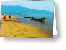 Tourists In Lang Co 2 - Hue, Vietnam Greeting Card
