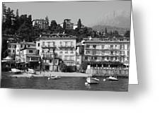 Town In The Shore Of Lake Como In Black And White Greeting Card