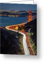 Traffic Racing Over The Golden Gate Bridge Greeting Card
