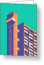 Trellick Tower London Brutalist Architecture - Plain Green Greeting Card