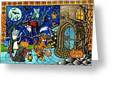 Trick Or Treat Halloween Cats Greeting Card