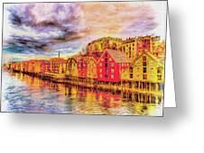 Trondheim - Waterfront Evening Greeting Card