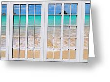 Tropical Paradise Beach Day Windows Greeting Card