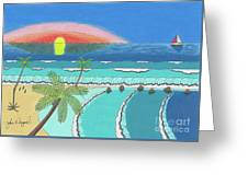 Tropical Sunrise Greeting Card by John Wiegand