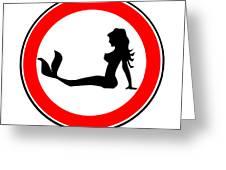 Trucker Mermaid Road Sign Greeting Card