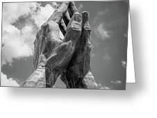 Tulsa Praying Hands Sculpture - Monochrome Greeting Card by Gregory Ballos