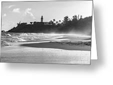 Tuna Punta Lighthouse Black And White Greeting Card
