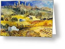 Tuscan Landscape - San Gimignano Greeting Card