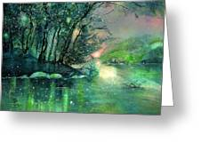 Twilight At The River Rhine Greeting Card
