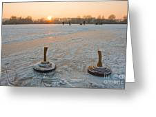 Two Bavarian Curling Stones On A Frozen Greeting Card