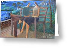 Two Boats In The Night Greeting Card