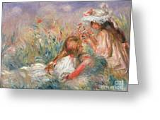 Two Children Seated Among Flowers, 1900 Greeting Card