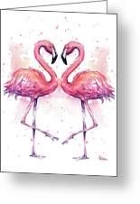 Two Flamingos In Love Watercolor Greeting Card