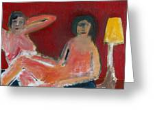 Two Nudes By A Lamp Greeting Card