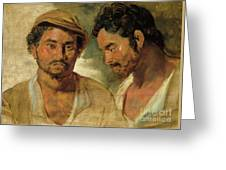 Two Studies Of A Man, Head And Shoulders Greeting Card