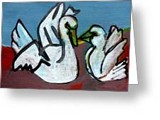 Two White Swans Greeting Card