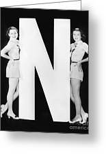 Two Women With Huge Letter N Greeting Card