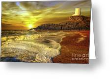 Twr Mawr Lighthouse Sunset Greeting Card by Adrian Evans