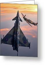 Typhoon And Spitfire Synchro-pair Display Team Greeting Card