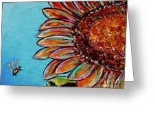 Sunflower With Bee Greeting Card by Jacqueline Athmann