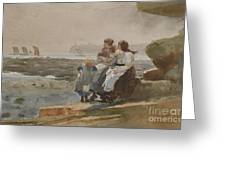 Under The Cliff, Cullercoats , 1881 Greeting Card