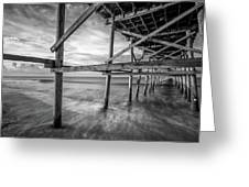 Uner The Pier In Black And White Greeting Card