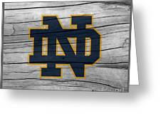 University Of Notre Dame Fighting Irish Logo On Rustic Wood Greeting Card