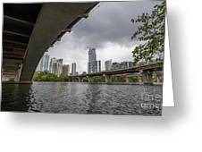 Urban Skyline Of Austin Buildings From Under Bridge With Stormy  Greeting Card