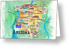 Travel Map Of Arizona.Usa Arizona State Travel Poster Illustrated Art Map By M Bleichner