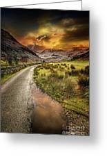 Valley Sunset Snowdonia Greeting Card