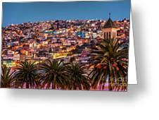 Valparaiso Illuminated At Night Greeting Card