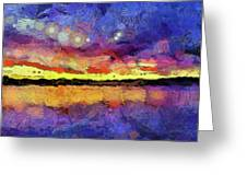 Van Gogh Sunset Reflection Greeting Card