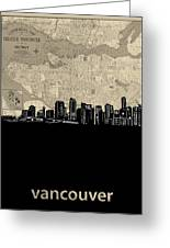 Vancouver Skyline Map Greeting Card