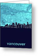 Vancouver Skyline Map Turquoise Greeting Card