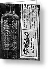 Vapo-cresolene Vaporizer Liquid Poison Bottle Black And White Greeting Card
