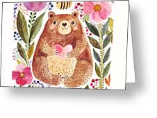 Vector Illustration Adorable Bear In Greeting Card